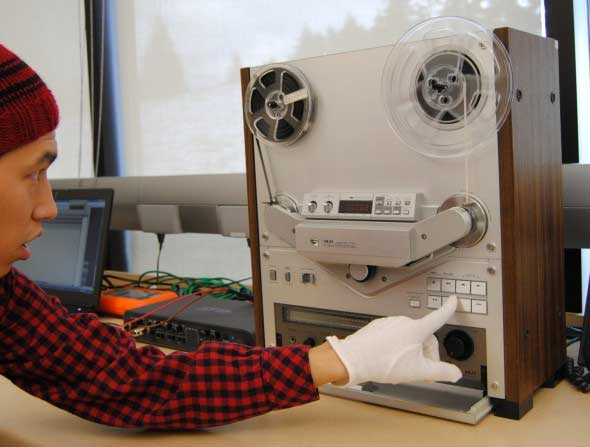 Xelsilem Rivers, digitization intern, working on an NADP funded project to digitize MOA's open reel audio holdings.