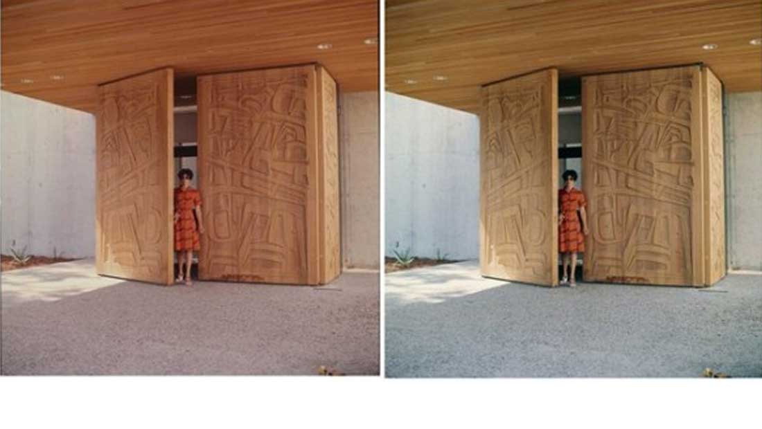 The 'Ksan doors in MOA's gift shop (left) preservation copy and (right) access copy
