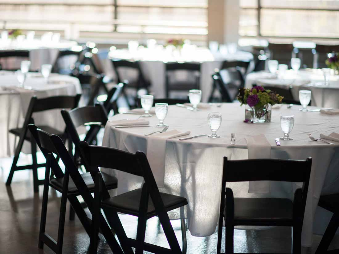 The Courtyard Room can accommodate sit-down dinners or stand-up receptions