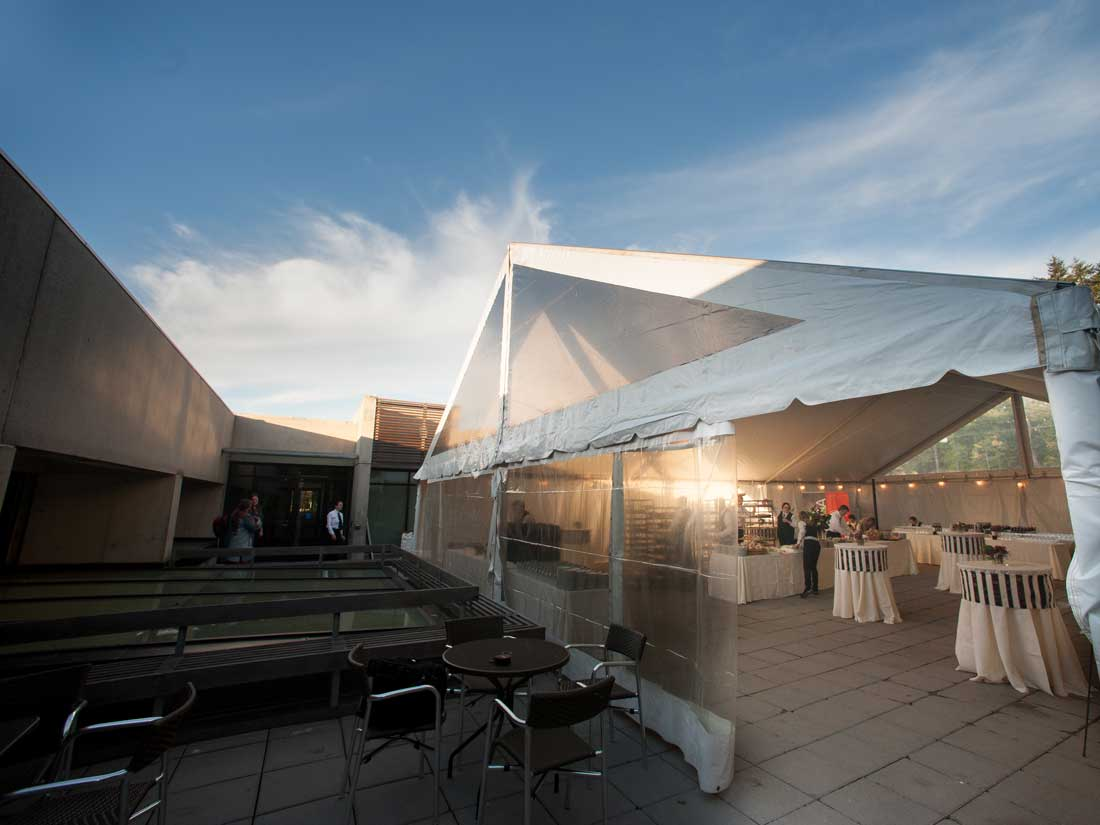 MOA's outdoor Courtyard can be tented to 40 by 60 feet