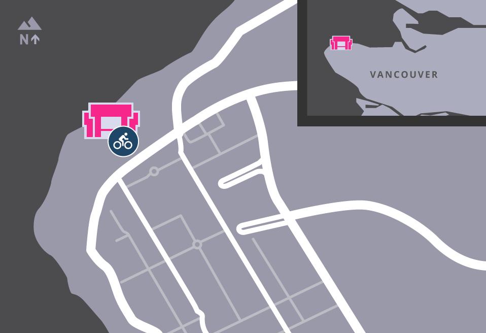 Map of MOA's surrounding area, showing bike racks.