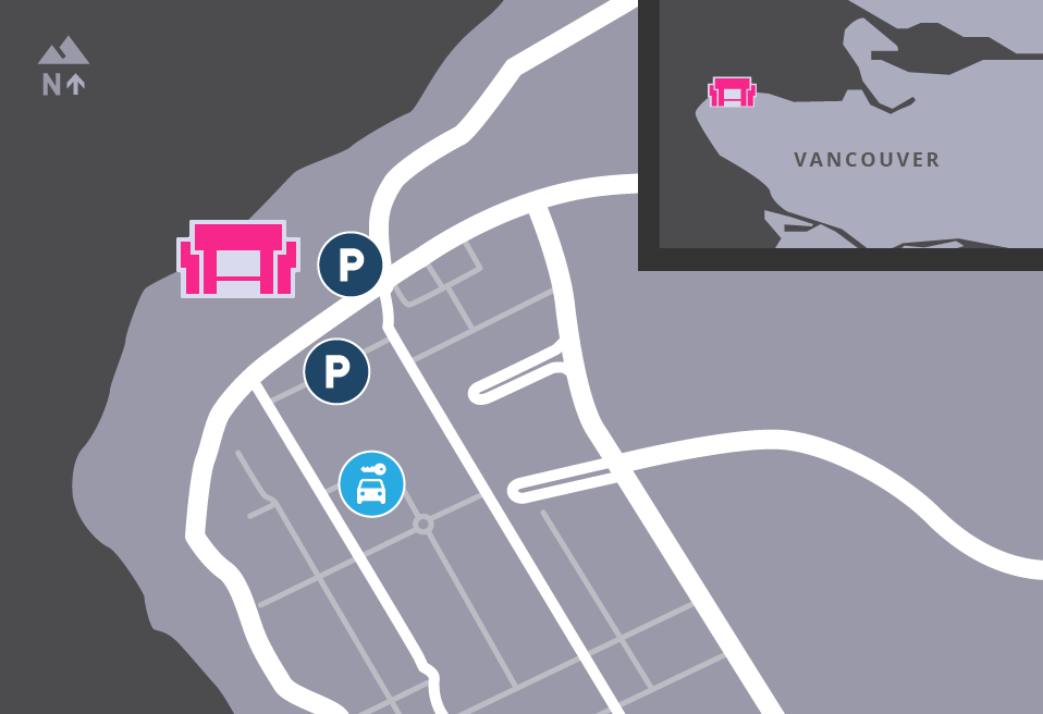Map of MOA's surrounding area, showing parking.