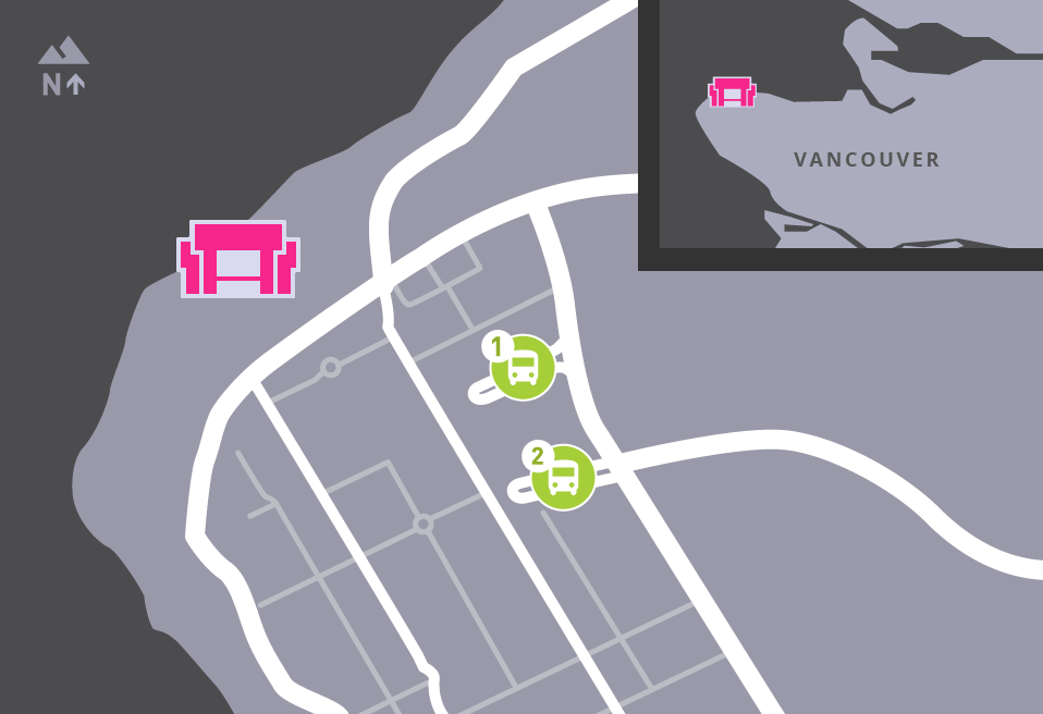 Map of MOA's surrounding area, showing bus stops.