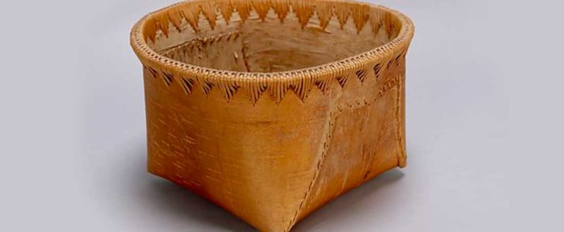 Dene birch-bark basket: maker unknown. Object number Na1012. Photo courtesy UBC Museum of Anthropology.