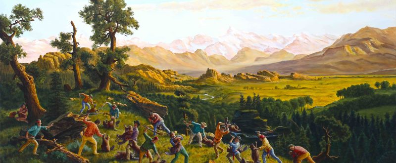 Painting of a grassy cliff overlooking a forest and distant mountains painted in yellow. In the foreground, thirteen male figures in bright clothing physically fight with beavers and hit them with rifles. In the bottom left corner, a naked female figure hides behind a tree, with a beaver covering her body. In the far distance, the mountains fade to white and blend in with the sky. The sky is painted in white and light blue, with pink clouds at the top of the painting.