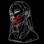 An abstract white line drawing of a female figure from the shoulders up, made from one continuous line. The figure's face is seen in three-quarter profile with eyes closed. The outline of a red hand in the same style covers the figure's mouth. The drawing is on a lack background. The artist's signature, Coral Schaughnessy-Moon, is written along the bottom edge of the figure.