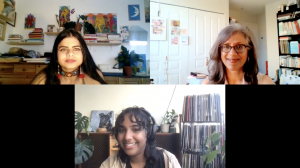 A screenshot from a Zoom meeting with three women all smiling.