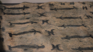 Close up of a barkcloth showing repeating designs in rows: a human-like figure with a long body and a sideways 'H' shape.