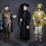 "Jorge Cerqueira, Three marionettes (from left to right): Vasco da Gama, Infante D. Henrique, Monsayeed, from Luís de Camões, ""Os Lusíadas"", 2012. Photo: Kyla Bailey."